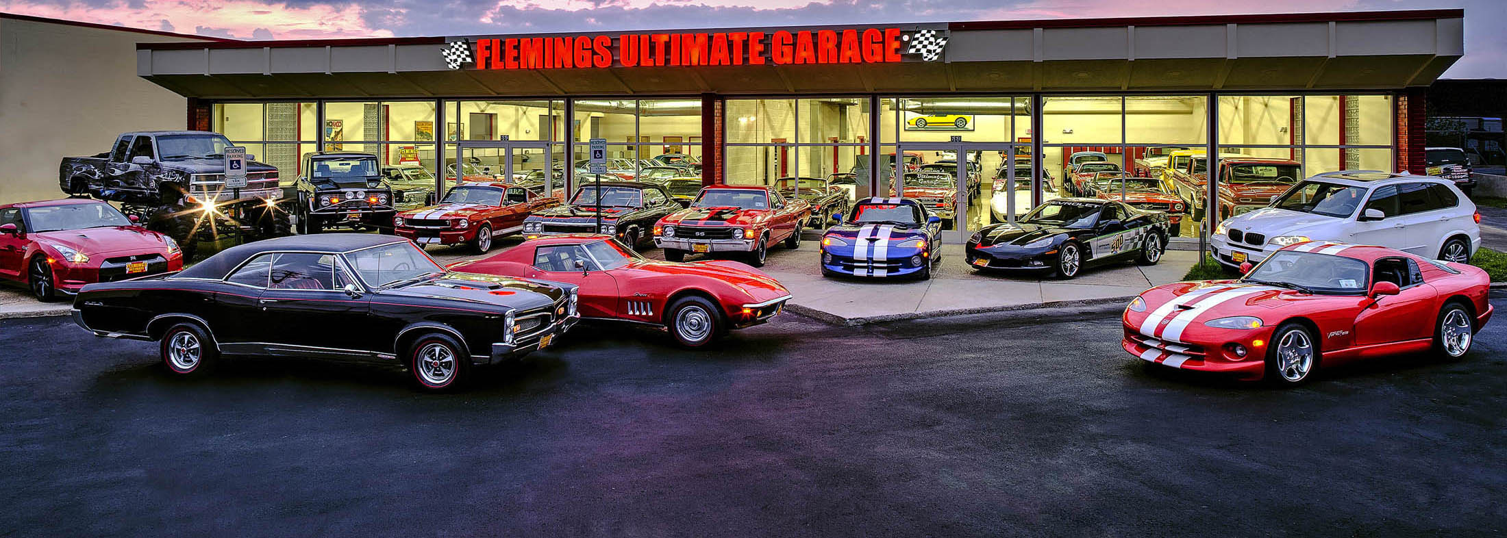 Home Flemings Ultimate Garage Classic Muscle Exotic Cars For